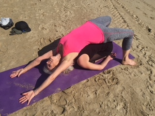 Partner yoga on a Diversity Yoga retreat - Backbend and Childs Pose Balasana